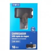 Carregador  USB rápido de viagem + Cabo  Tipo C 1M - 18w - 3A - Inova  CAR-9001