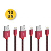 Kit 10 CABO DADOS TURBO USB | IPHONE LIGHTNING 1M | PMCELL CROMO899 CB21
