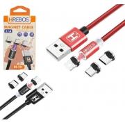 Kit 10 Cabo magnético 3 em 1 USB 1M 3.1A  Atacado Revenda