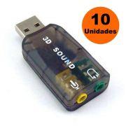 Kit 10x Placa de Som Externa USB 2 Canais