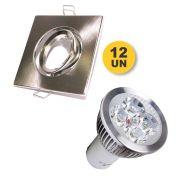 Kit 12x Spot Quadrado Prata + Lâmpada 5w 12v Branco Puro