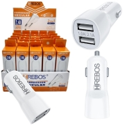 Kit 25 Carregador Veicular 2.4A 2 USB + expositor Atacado