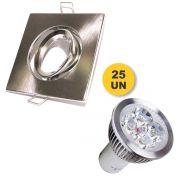 Kit 25 Spot Direcionável Quadrado Alumínio + 25 Lâmpadas 12V Branco Puro 5W