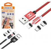 Kit 5 Cabo magnético 3 em 1 USB 1M 3.1A  Atacado Revenda