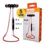 Kit 5x Fone de Ouvido Bluetooth Intra-Auricular Magnético Kaidi KD901