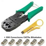 Kit Alicate De Crimpar + Decapador + 200 Conectores Cat5e Blindado
