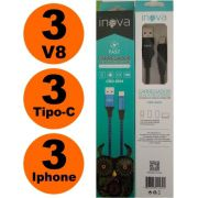 Kit Atacado 9 Cabos Inova 1M | 3 Tipo C | 3 Iphone | 3 V8