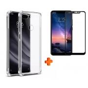 Kit Capa Capinha Transparente + Película 5d Xiaomi Note 6 Pro