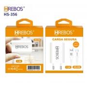 Kit Carregador Compacto 1.2A + Cabo Turbo Lightning HS-357 - Hrebos