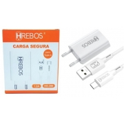 Kit Carregador Compacto 1.2A + Cabo Turbo Type C HS-356 - Hrebos