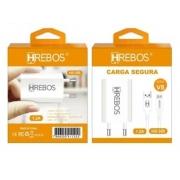 Kit Carregador Compacto 1.2A + Cabo Turbo Micro USB V8 HS-355 - Hrebos