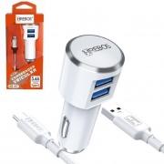 Kit Carregador Veicular Turbo 3.4 A - Dual USB + Cabo Turbo Tipo C HS-97