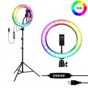 "Kit Completo Ring Light 10"" RGB Com Tripé Dimmer Youtuber Selfie"