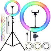 "Kit Completo Ring Light 12"" RGB Com Tripé Dimmer Youtuber Selfie"