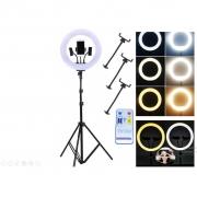"Kit Completo Ring Light 14"" Com Tripé Dimmer Youtuber Selfie"