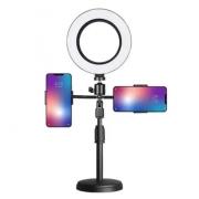 """Kit Completo Ring Light 6"""" com suporte pra 2 celular Com Tripé Dimmer"""
