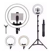 "Kit Completo Ring Light 10"" Com Tripé Dimmer Youtuber Selfie"