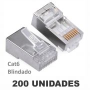 Kit Conector Blindado CAT6 RJ45 (200 unidades)