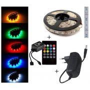 Kit Fita de LED 5M 300 LEDS RGB 5050 Prova D'Agua + Controle Remoto Musical + Fonte 12V 2A