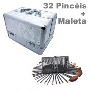Kit Maleta Prata Maquiagem Grande Profissional + 32 Pincéis
