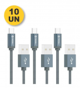 LOTE 10 CABO DADOS TURBO USB TIPO C 1M ATACADO REVENDA