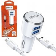Lote 10 Carregador Veicular 3.4a 2 USB + Cabo V8 Atacado