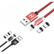 Lote 5 Cabo magnético USB 3 em 1 2M 3.1A Atacado Revenda