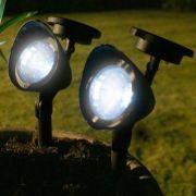Luminária Solar de Jardim Refletor 3 Led Branco