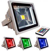 Refletor Holofote Super Led RGB 50W com controle remoto