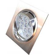 Spot Alumínio Quadrado (1x12W) 12W Led Branco Puro