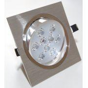 Spot Alumínio Quadrado (1x9W) 9W Led Branco Puro