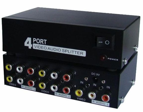 Distribuidor RCA Splitter de Video Composto c/ Audio 1 x 4 portas