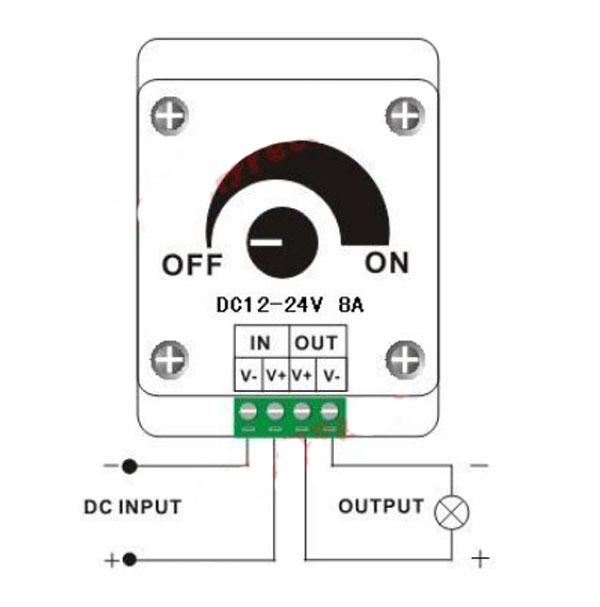 Controle Dimmer Rotatório Analógico 12V Led Monocromático