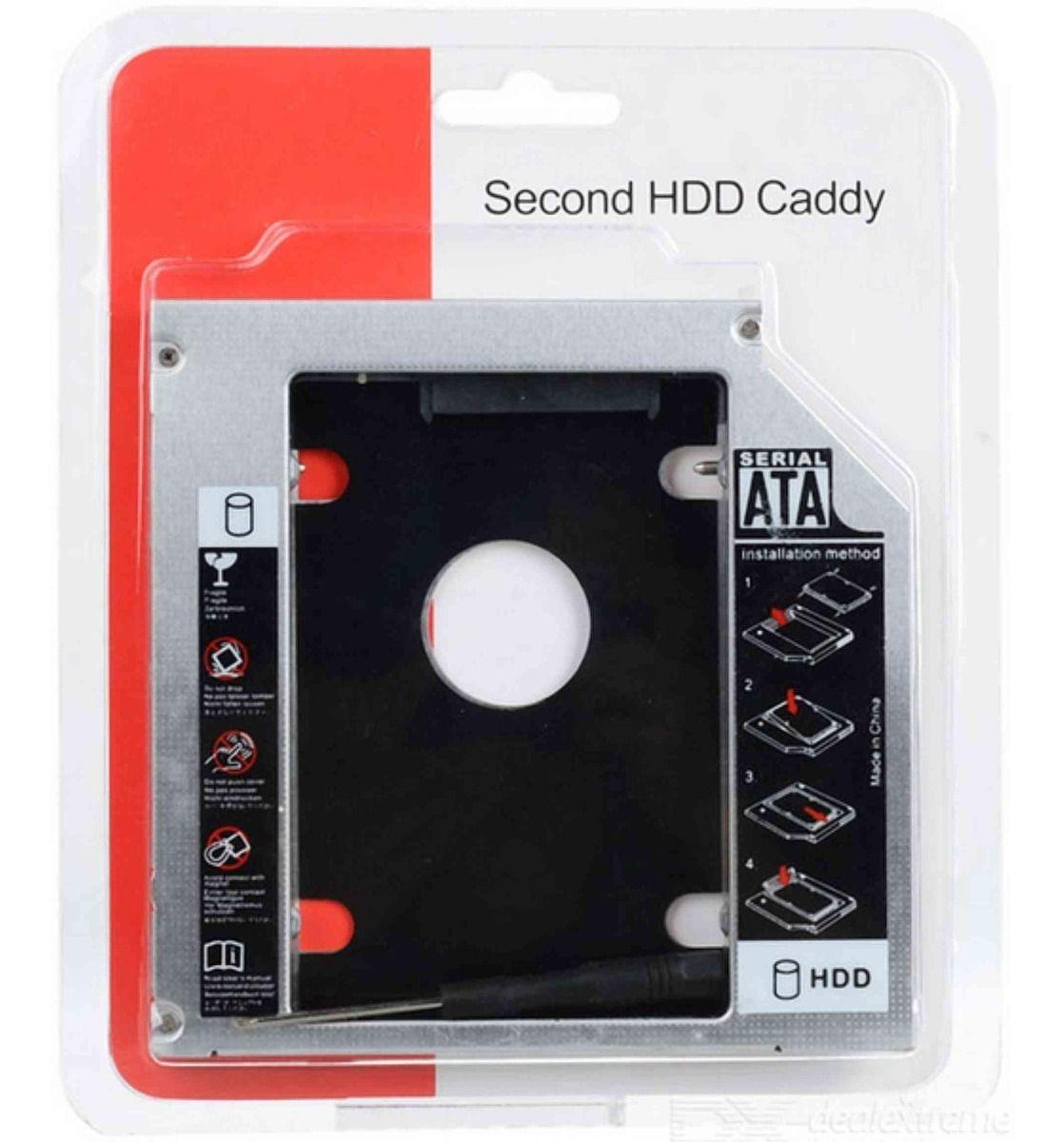 Adaptador Caddy Para Segundo HD Ou SSD 12,7mm P/ Notebook