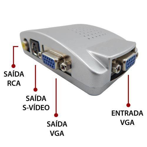 Adaptador Transcodificador Vga P/ Tv Rca S-video Knup KP-3461