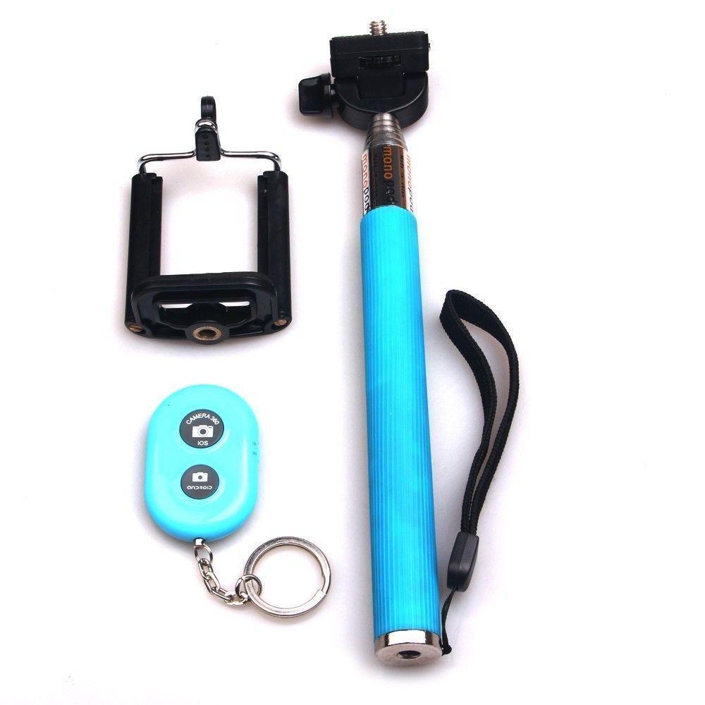 Bastão Pau de Selfie Monopod c/ Controle Remoto Bluetooth Azul