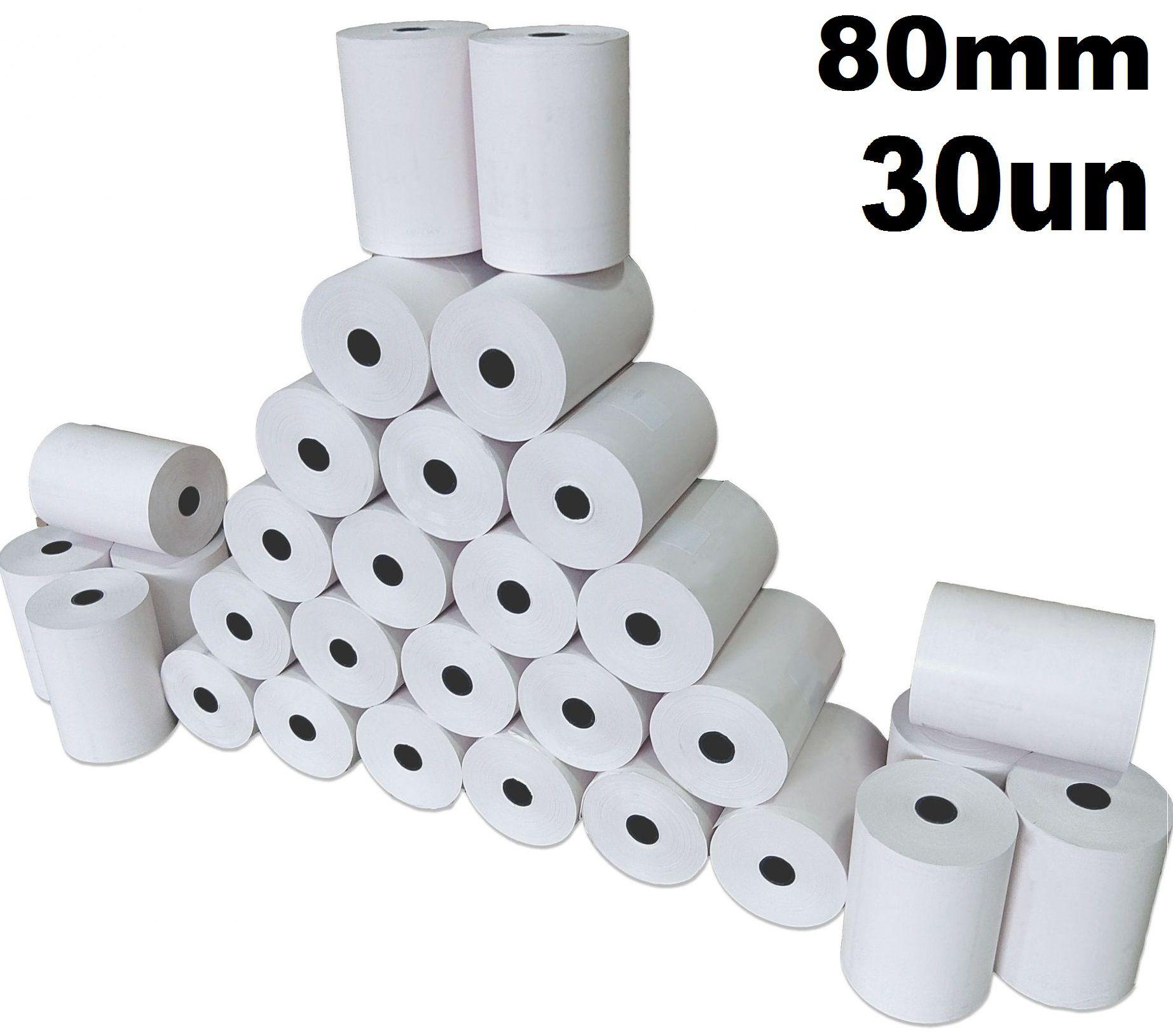 Bobina Papel Térmico 80x30 caixa c/ 30 un