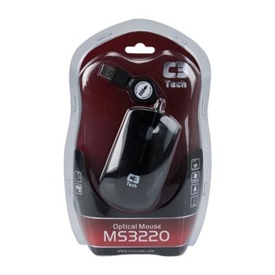 Mouse C3 Tech MS3220-2BK USB Retrátil - Preto