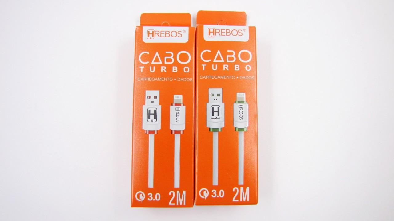 Cabo Dados Colorido Turbo 3.0 Lightning 2M HS128 - HREBOS