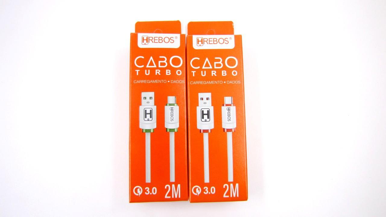 Cabo Dados Colorido Turbo 3.0 Micro USB V8 2M HS126 - HREBOS