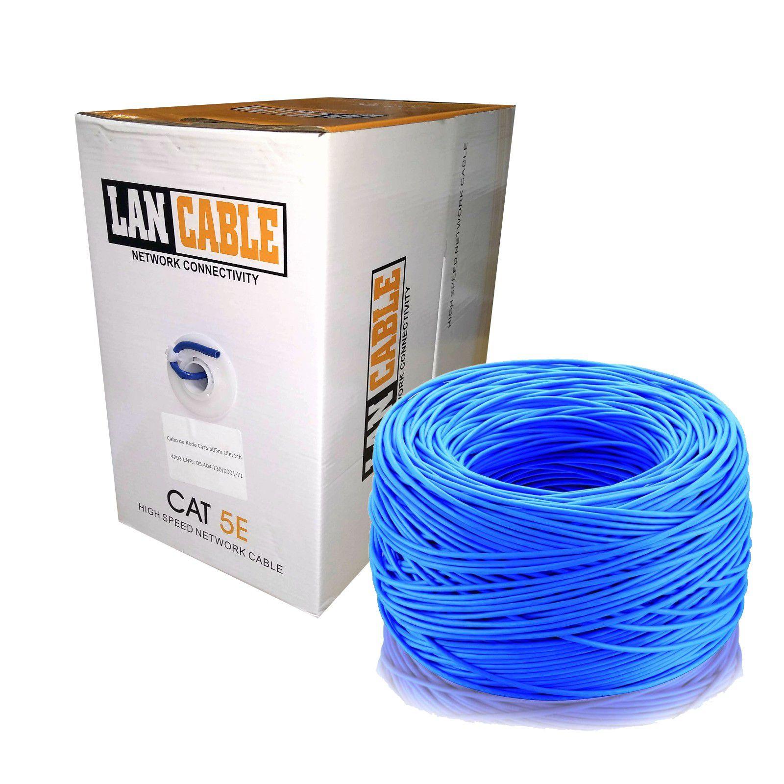 CABO DE REDE CAT5e Azul Oletech 305m