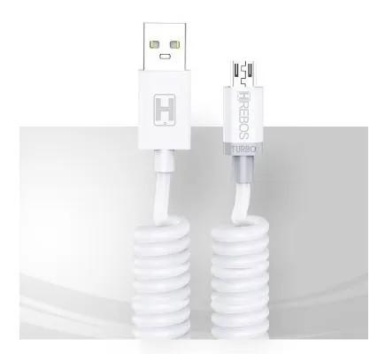 Cabo Espiral 3.1A 1,6m Micro USB V8 Branco - HS137 - HREBOS
