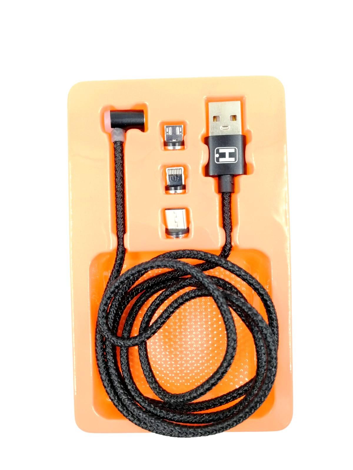 Cabo Magnético com 3 Pontas Laterais, 1m (Apple IOS / Type-C / V8 Micro USB) HS-202
