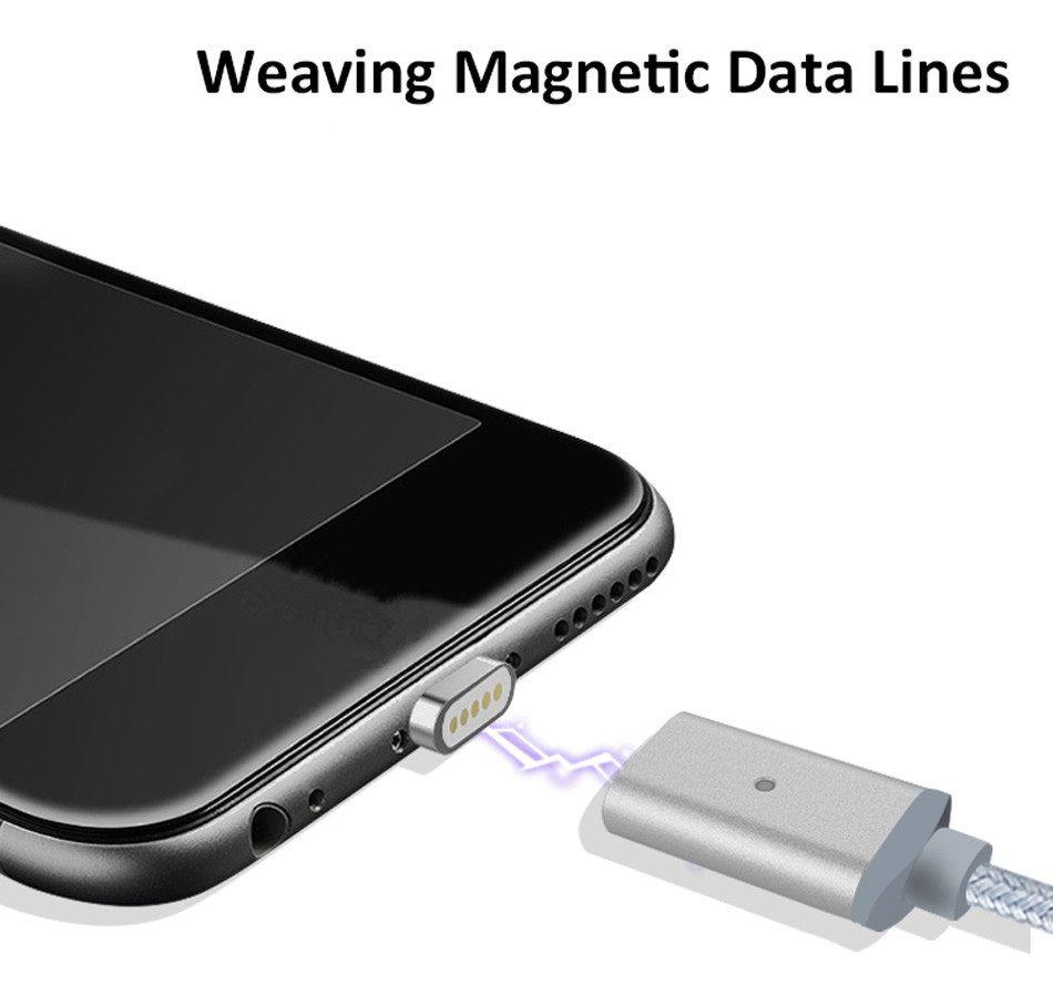 Cabo Magnético Nylon 3x1 iPhone + Micro USB + Tipo C