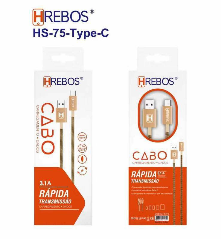 Cabo Metal Turbo 1M - 3.1A Tipo C HS-75