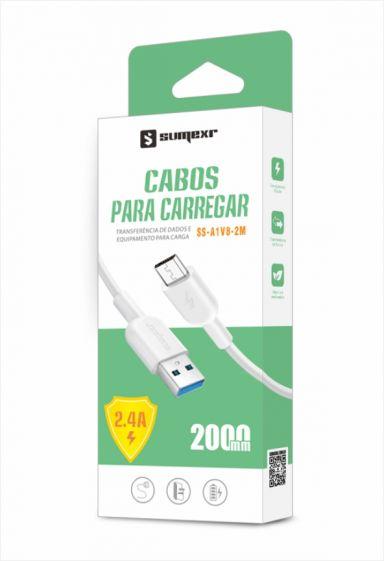 Cabo Para Carregamento USB Micro USB V8 2m SS-A1V8 - Sumexr