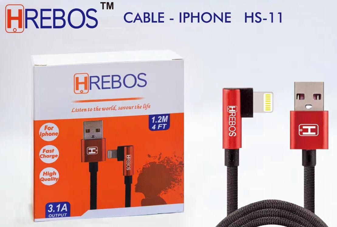 Cabo Tecido 1.2M - 3.1A Plug Lateral Apple HS-11