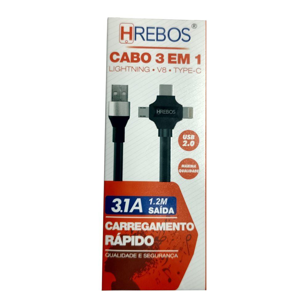 Cabo Turbo 3 em 1 | 1,2m V8 Tipo-C IOS 3.1A | HRebos HS48