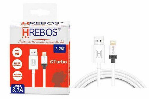 Cabo Turbo branco 1.2M - 3.1A Lightning - HS70