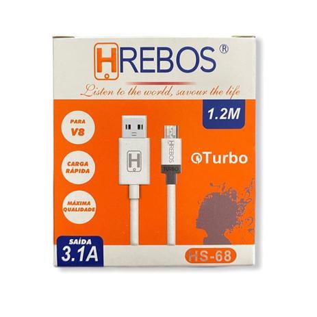 Cabo Turbo branco 1.2M - 3.1A V8 HS68